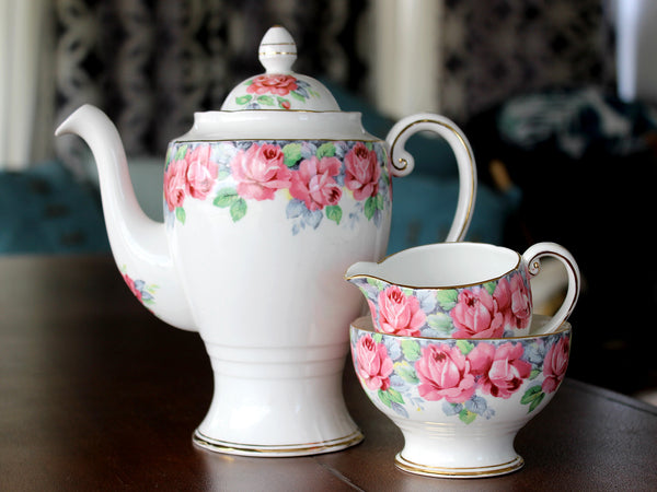 DEMITASSE, Teapot, Coffee Pot, Royal Standard, Rose of Sharon, Sugar and Creamer - The Vintage Teacup