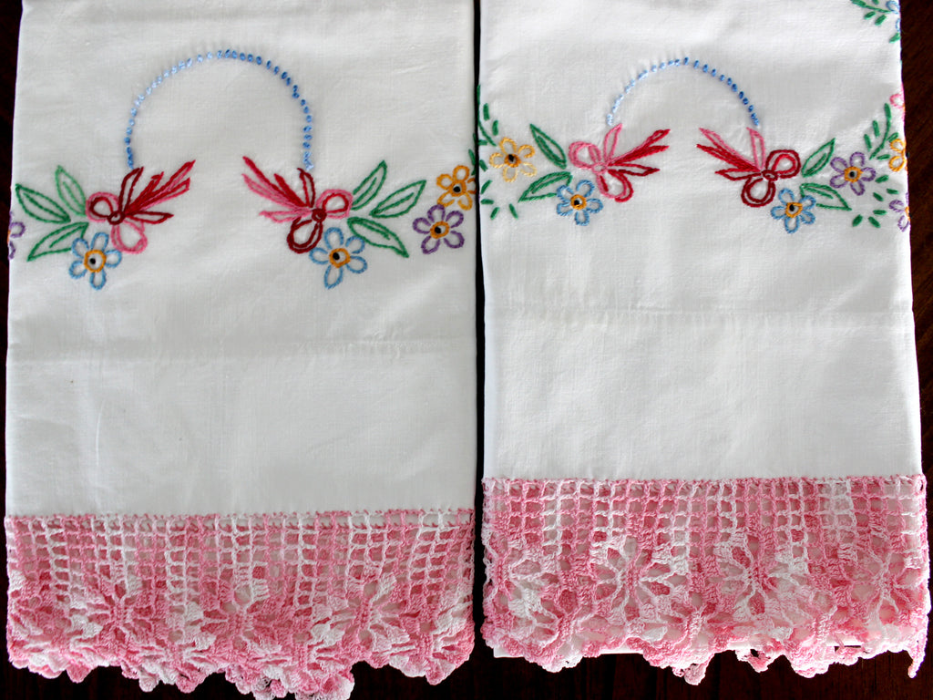 Vintage Pillowcases, Pillow Cases, White Cotton Pillow Slips, Embroidered & Crocheted 15621 - The Vintage Teacup