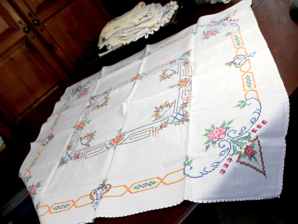 Vintage Tablecloth, Cross Stitched, Small Linen Table Cloth, 12347 - The Vintage Teacup - 1