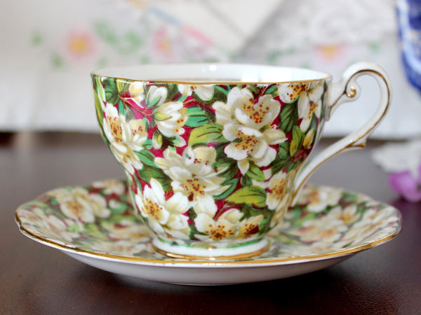 Royal Standard Teacup and Saucer, Peach Tree Chintz, Vintage Tea Cup 15738