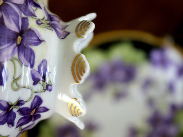 Damaged Mitterteich, Teacup and Saucer, Purple Violets, Bavaria Germany 15754