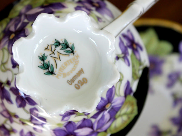 Mitterteich Footed Teacup and Saucer, Purple Violets, Bavaria Germany 15870 - The Vintage Teacup
