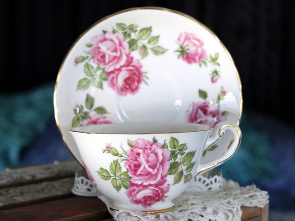 Royal Chelsea, Tea Cup & Saucer Set, Bone China, Pink Roses, Vintage Teacups 15804 - The Vintage Teacup