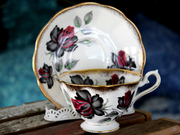 Masquerade Teacup, Royal Albert Avon Shaped Tea Cup and Saucer 15805 - The Vintage Teacup
