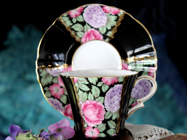 Royal Standard, Black Paneled Teacup, Stunning Chintz, Cup and Saucer 15811 - The Vintage Teacup