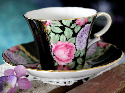 Royal Standard, Black Paneled Teacup, Stunning Chintz, Cup and Saucer 15811