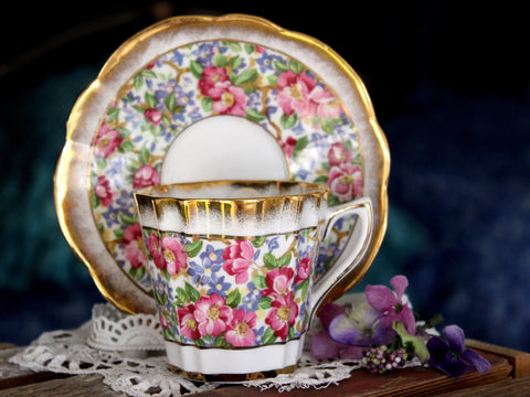Rosina Cup and Saucer, Heavily Decorated, Floral Chintz Tea Cup, Made in England -J
