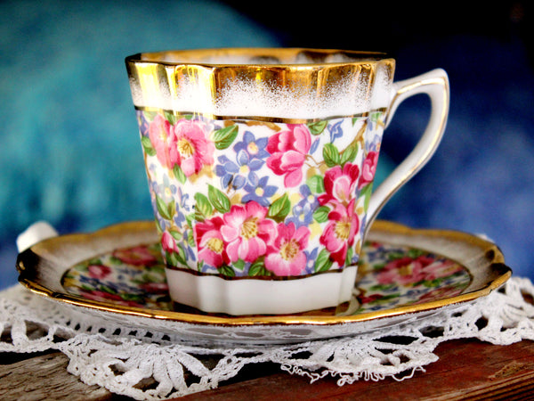 Rosina Cup and Saucer, Heavily Decorated, Floral Chintz Tea Cup, Made in England -J - The Vintage Teacup