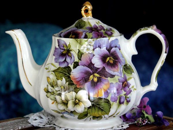 Windsor Tea Pot, Purple Pansies Galore,  Teapot - Floral England 15819 - The Vintage Teacup