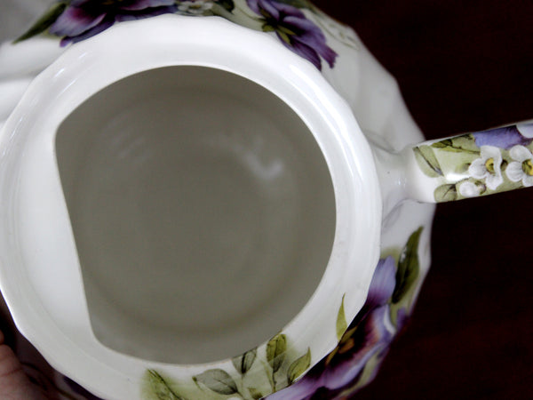 Windsor Tea Pot, Purple Pansies Galore,  Teapot - Floral England 15819
