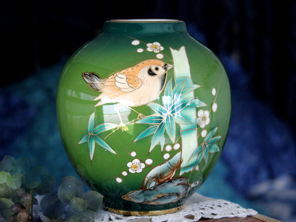 House of Global Art Vase, Bird on Bamboo, Asiatic Art Vase, Hand Painted in Japan 15820 - The Vintage Teacup