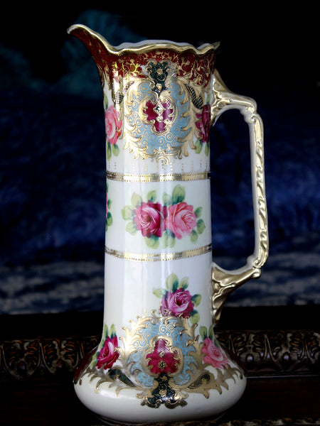 Antique Tall Pitcher, Unmarked Nippon Vase, Moriage, Hand Painted Porcelain Vase 15831 - The Vintage Teacup