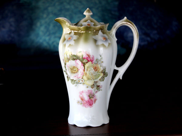 Tall Chocolate Pot, Coffee Pot, Hand Painted, Made in Germany 15832 - The Vintage Teacup