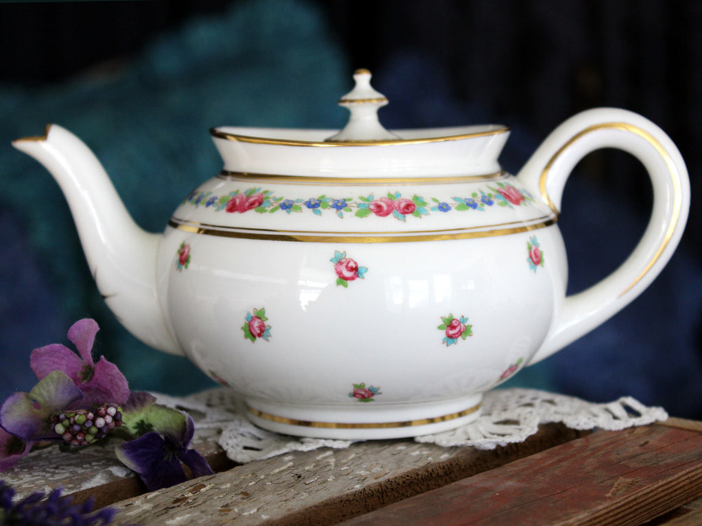 Cauldon China Teapot, Pink Rosebuds, Tea Pot, Single Serve 15845 - The Vintage Teacup
