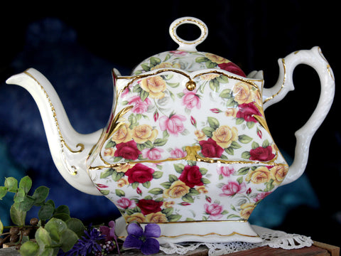 Crown Dorset Tea Pot, Mixed Roses Chintz, Vintage Teapot, Ornate & Charming 15850 - The Vintage Teacup