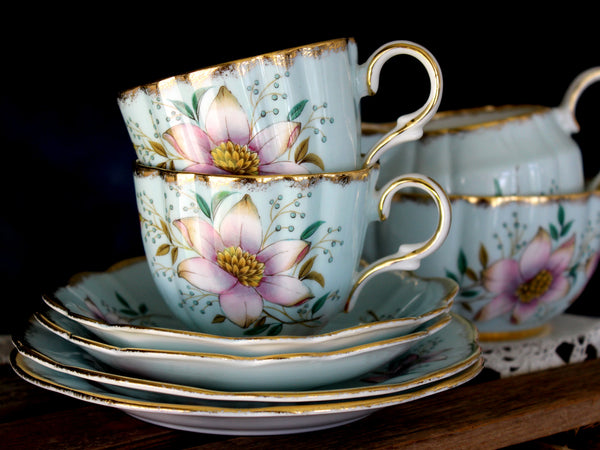 Clare Bone China, 2 Sets of Trios & Creamer and Sugar Lot, Blue Teacups 15851 - The Vintage Teacup