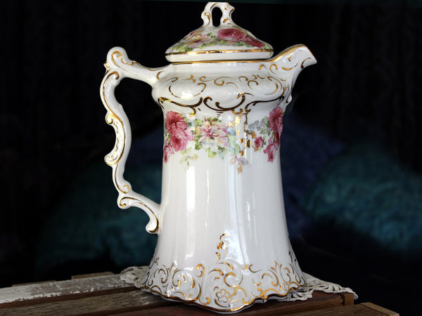 Antique La Belle Chocolate Pot, Wheeling Pottery Virginia, Tall Coffee Pot 15853 - The Vintage Teacup