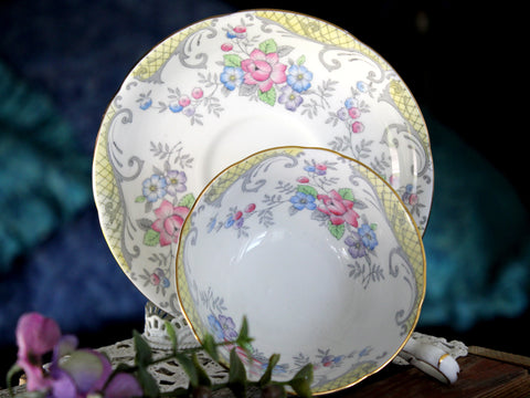 Royal Grafton Teacup, Wide Mouthed, Floral Interior, Vintage Cup and Saucer -J - The Vintage Teacup
