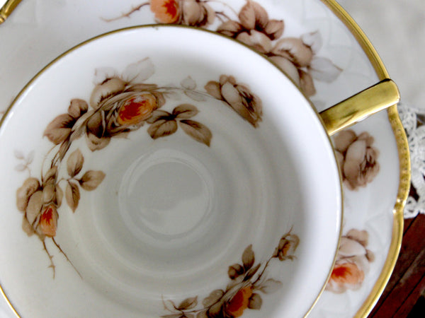 Mitterteich, Teacup and Saucer, Fluffy Roses, Gold Trim, Bavaria Germany 15875 - The Vintage Teacup
