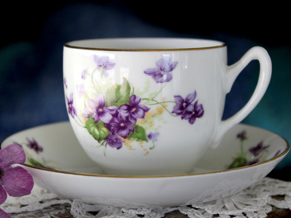Duchess Violets Teacup & Saucer, Bone China, Made in England 15880 - The Vintage Teacup