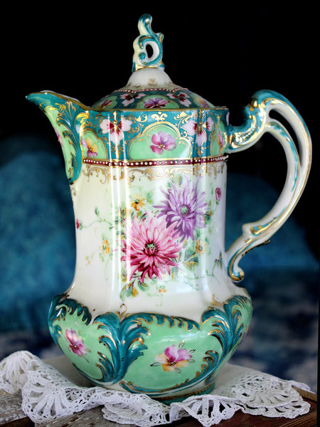 Unmarked Chocolate Pot, Tall Coffee Pot, Hand Painted, Shabby & Wonderful 15900 - The Vintage Teacup
