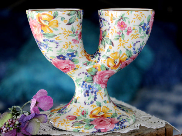 James Kent Chintz, Double Egg Cups, Vintage English Bone China 15907 - The Vintage Teacup