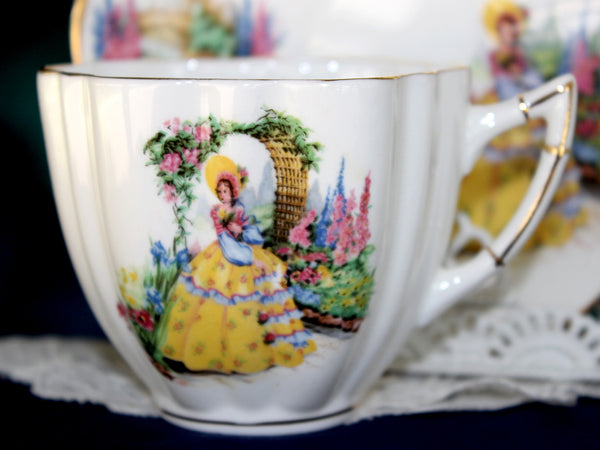 Crinoline Lady Teacup, Southern Belle, Garden Scene, English Tea Cup & Saucer 15920 - The Vintage Teacup