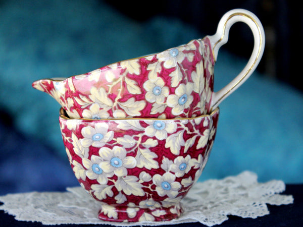 Royal Brocade, Lord Nelson Ware, BCM,  Chintz, Sugar and Creamer 15921 - The Vintage Teacup