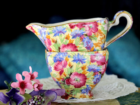 Royal Winton, Royalty Chintz Creamer & Sugar, Grimwades England 15956