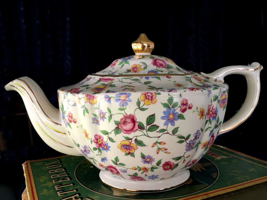 Sadler Chintz Teapot, Wildflowers, 4 Cup, Transferware Tea Pot 15960