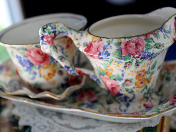 Antique James Kent Ware, Chintz Ware, Sugar, Creamer, Dish & Tray 15966