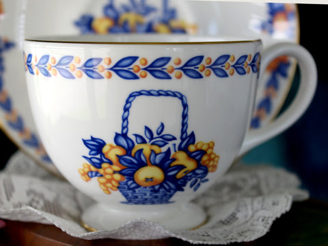 Bethany Bone China Teacup and Saucer, Tea Cup, England, Fruit Baskets 15968