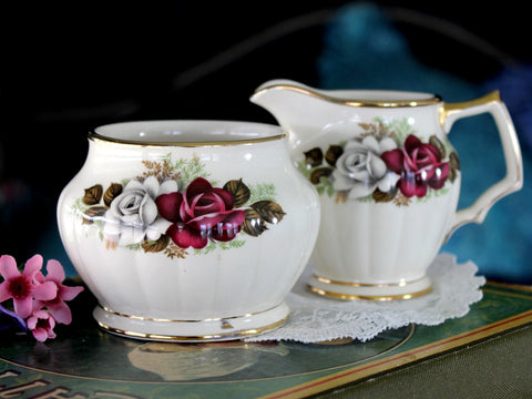 Sadler Creamer & Sugar, English Bone China, Red & White Roses 15975