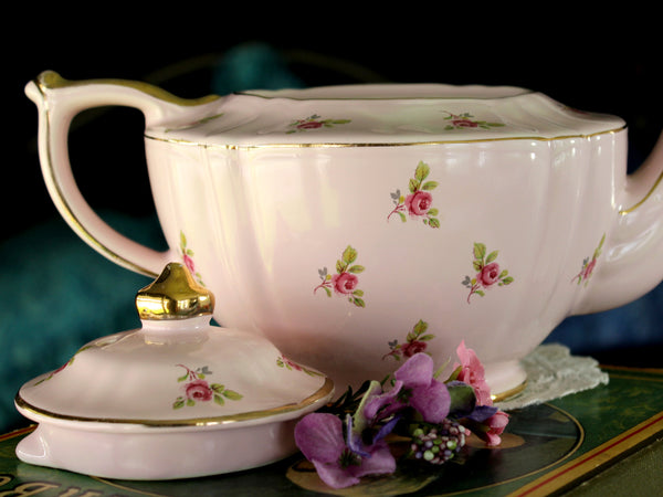 Pink Sadler Chintz Teapot, Ditsy Rose, 4 Cup, Transferware Tea Pot 15980