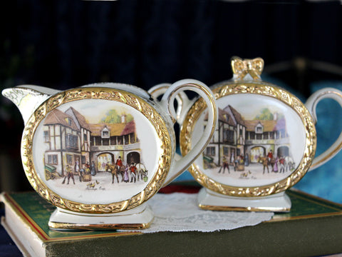 Sadler Barrel Creamer & Sugar, English Bone China, Stables 15997
