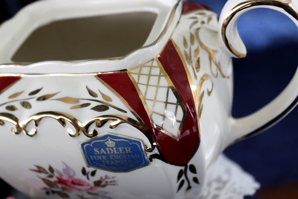Sadler Cube Tea Pot, Vintage Teapot, Floral 4 Cup Teapot, Made in England 16006