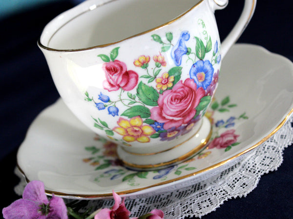 Vintage Bone China Tea Cup, Bell Teacup & Saucer 16025