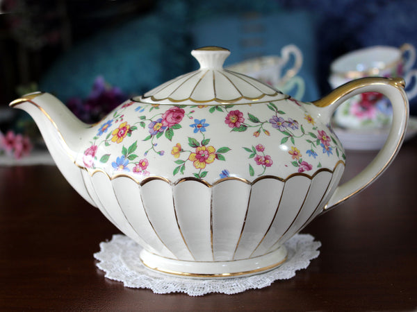 Cream Sadler Chintz Teapot, Wildflowers, Full Sized, Sadler Tea Pot 16054