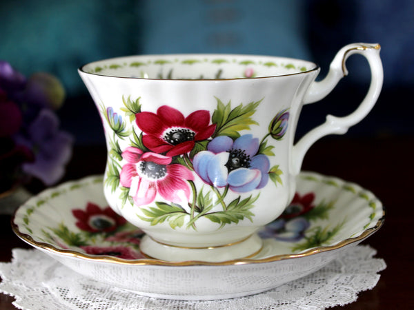Royal Albert Anemones, Tea Cup and Saucer, Flowers of the Month, March Teacup 16055