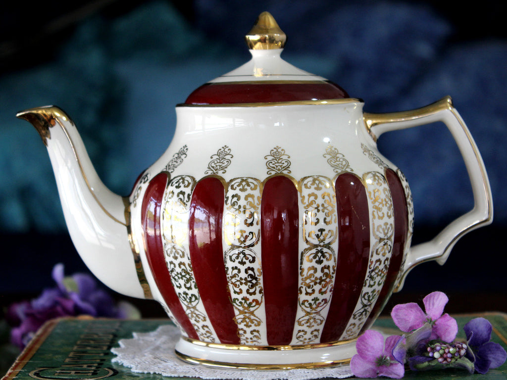 Rare Vintage Sadler Teapot, Gorgeous Burgundy Panels, Sadler Tea Pot 16066