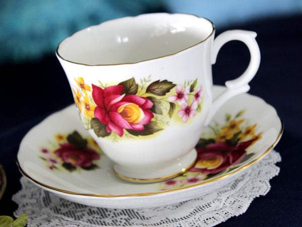Bone China Teacup and Saucer, Crown Staffordshire Floral Tea Cup, Made in England 16083