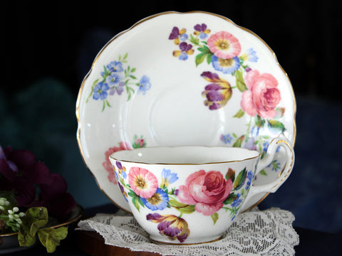 Vanderwood Morning Glory, Tea Cup & Saucer, Bone China, English Teacups 16084