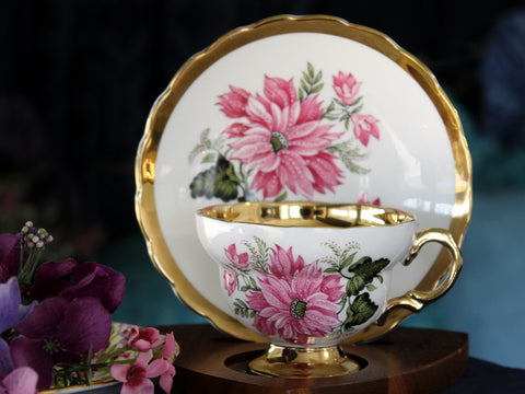 Rosina Cup and Saucer, Gold Banded, Pink Floral Tea Cup, Made in England -J