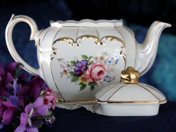 Sadler Cube Teapot, Pink and Purple Florals, 4 Cup Tea Pot, Roses & Scroll Gilding 16100