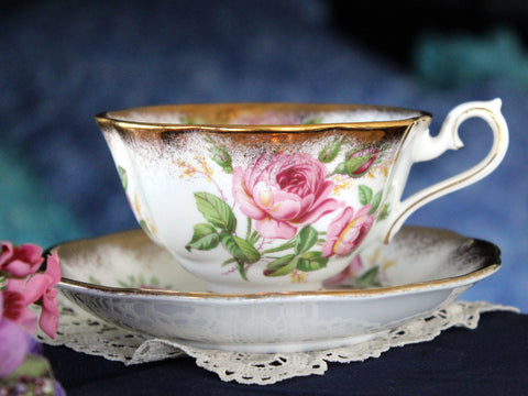 Royal Albert Cabinet Cup & Saucer, Avon Shaped, Vintage Tea Cups, Bone China 16101