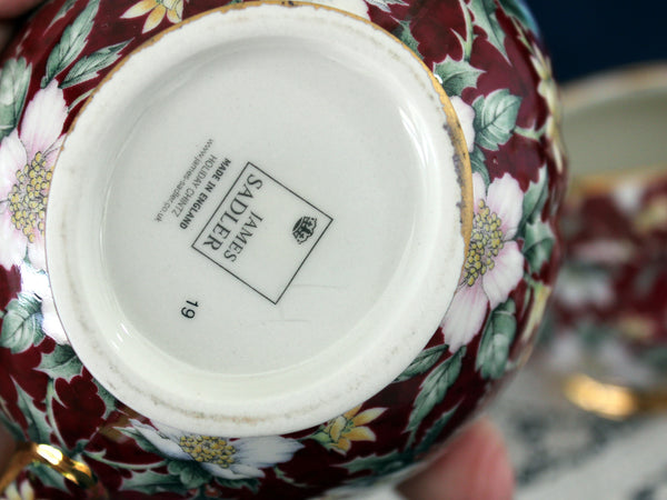 Sadler Holiday Chintz Creamer & Sugar, Porcelain Christmas Pattern 16162
