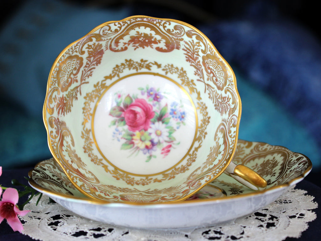 Paragon Bone China Tea Cup, Minty Green with Mixed Florals, Teacup & Saucer 16207