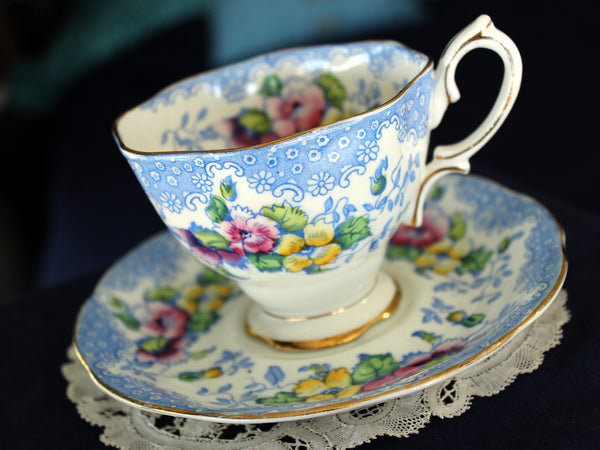 Royal Albert Cup & Saucer, Lovelace Teacup, Vintage Tea Cups, Bone China 16224