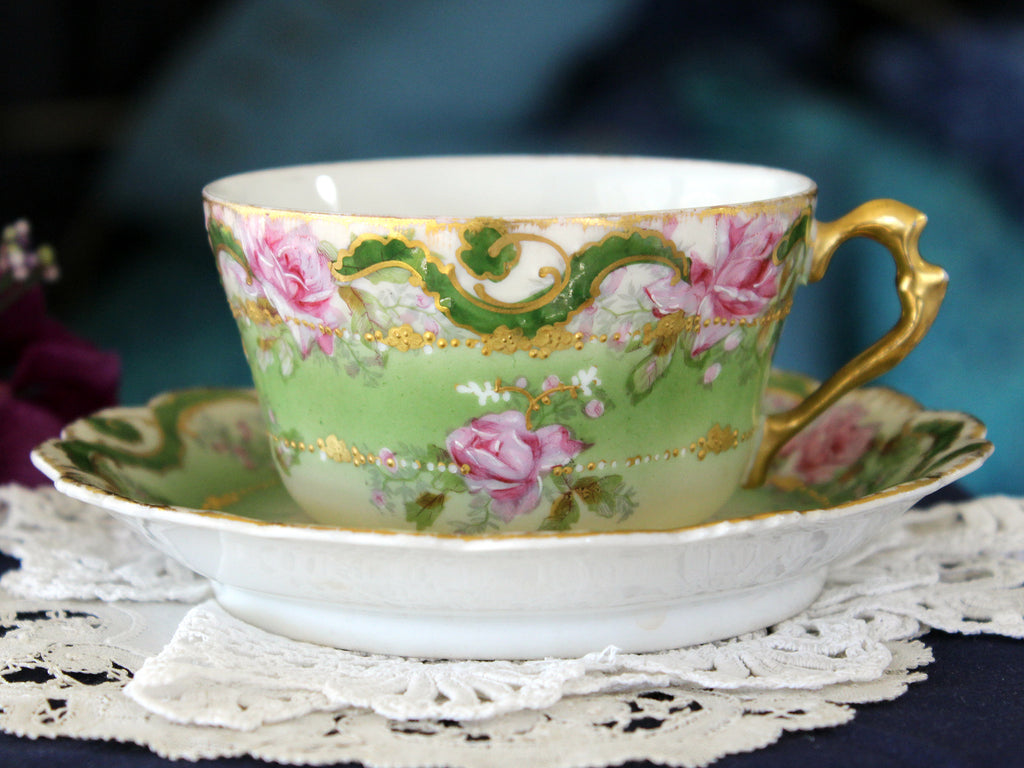 Antique Limoges, Coronet Tea Cup & Saucer, Hand-Painted Roses, Gold Trim 16267