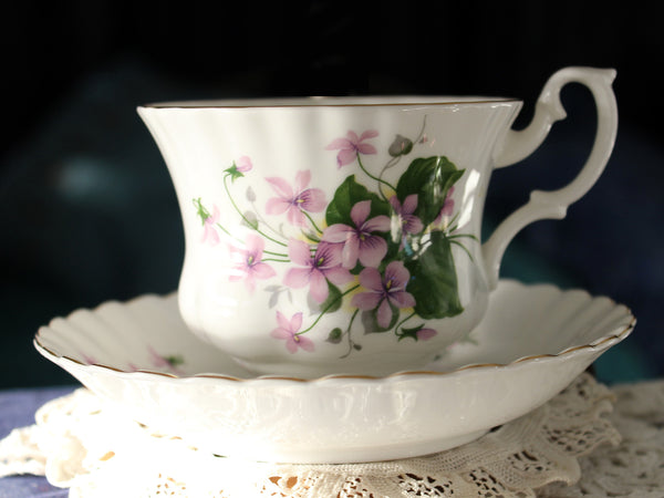 Royal Albert Cup and Saucer, Violets, Montrose Shape 16285